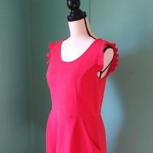 large sleeveless coral pink dress pockets ruffles